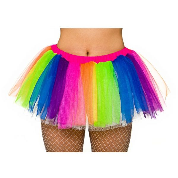Budget Rainbow Tutu Skirt for Ballet Ballerina Tu Tu 80s Disco Pop Fancy Dress